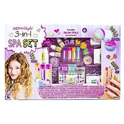 Just My Style 3-in-1 Spa Set Horizon Group USA, Shimmery Lip balms Bath Bombs & Nail Art