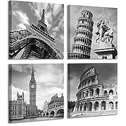 European Architecture Canvas Print Leaning Tower of Pisa & Eiffel Tower Italy Roman Colosseum & London Big Clock Wall Art Classical Artwork 30x30cm