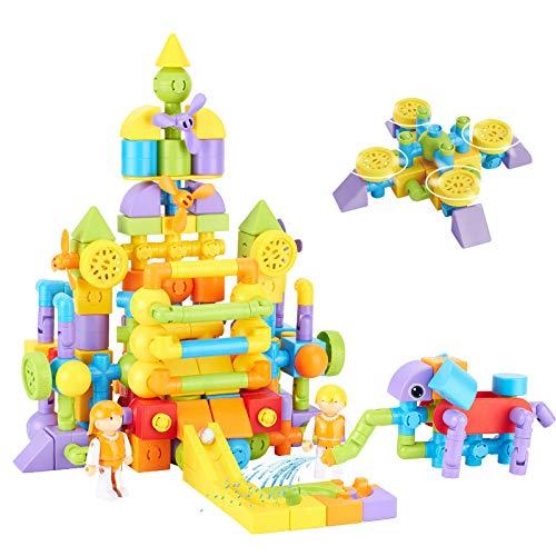 TGRBOP Magnetische Bausteine, Mini 128PCS Stapel-Kits Spielzeug Magnetfliesen Schloss Auto Riesenrad Roboter BAU Spielzeug Kinder Kreativität Lernspielzeug Geschenk Für Jungen Mädchen
