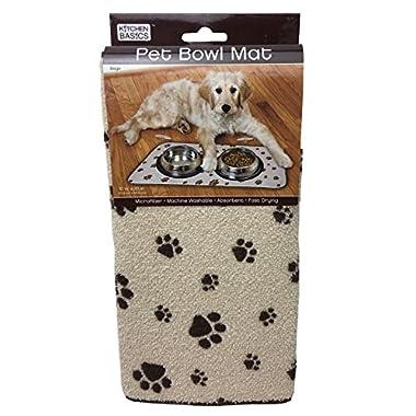 Kitchen Basics Microfiber Anti-Skid Pet Bowl Mat - Beige - 10  x 20