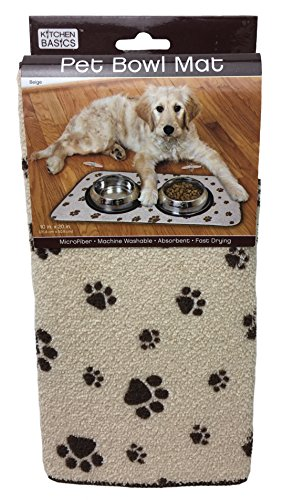 Kitchen Basics 423001 Microfiber Pet Bowl Mat, 10 Inch x 20 Inch, Taupe Paws