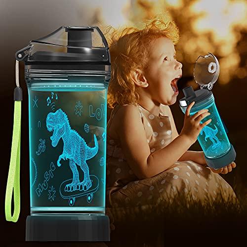Lightzz Kids Trinkflasche, 3D Dinosaur Illusion LED-Licht mit 7 farbwechselnden Lichtern - 14 0z BPA Free - Kreatives ideales Reisebechergeschenk für Campingkinder mit Schuljungen