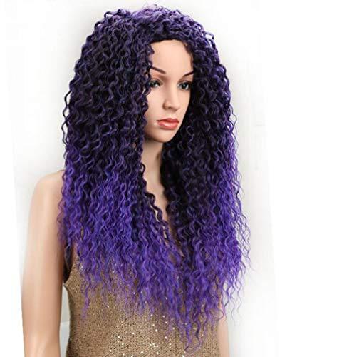 Pelucas Wig High-Temperature Silk Chemical Fiber Head Cover Long Curly Hair European And American Black Ex Lace