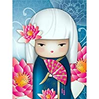 DIY日本人の女の子5Dダイヤモンド絵画フルスクエアドリル樹脂漫画刺繡モザイククロスステッチ家の装飾壁アートギフト