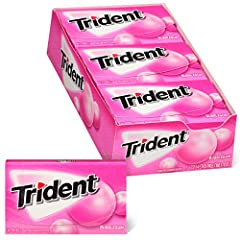 12 packs with 14 pieces each, 168 total pieces, of Trident Bubblegum Sugar Free Gum Bubblegum flavored sugar free chewing gum Sugar free bubble gum that helps clean and protect teeth while freshening breath Sugarless gum made with xylitol Chewing Tri...