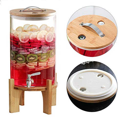 Glazen emmer met hoge temperaturen, drankdispenser met houder en armatuur, Mason pot van glas Jug in vintage-design (thermometer/wind) Stainless steel tap-bamboo base 8l