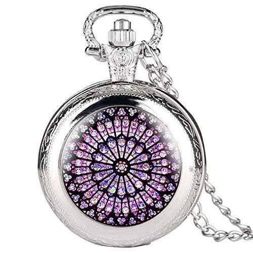 J-Love Reloj de Bolsillo The Rose Window Display Full Hunter Reloj de Bolsillo de Cuarzo Collar Antiguo Reloj Colgante Los Mejores Regalos de Recuerdo para Hombres y Mujeres