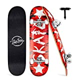 BELEEV Skateboard Erwachsene 31x8 Zoll Komplette Cruiser Skateboard für Kinder Jugendliche Anfänger, 7-Lagiger Kanadischer Ahorn Double Kick Deck Concave mit All-in-one Skate T-Tool(Rot)