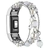 Simpeak Band Compatible with Fitbit Charge 2, Jewelry Bracelet with Elastic Beaded Pearl Band Replacement for Fitbit Charge 2,Women Girls, White
