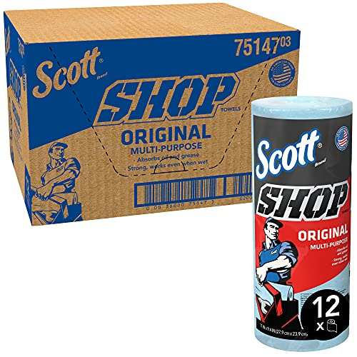 Scott Shop Towels Original (75147), Blue, 55 Sheets/Standard Roll, 12 Rolls/Case, 660 Towels/Case