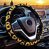 WAVEYU Cute Steering Wheel Cover for Women, Universal Fit Steering Wheel Cover, Fashionable Anti Slip and Sweat Absorption Steering Wheel Cover Sunflower Car Accessories, Sunflower