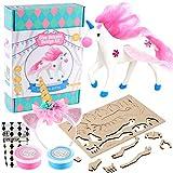 Tacobear Manualidades Niños Unicornio 3D Puzzle Madera Unicornio Figuras Diadema Bricolaje Clay Arcilla Manualidades Kit DIY Creativo Unicornio Regalo para Niños Niñas