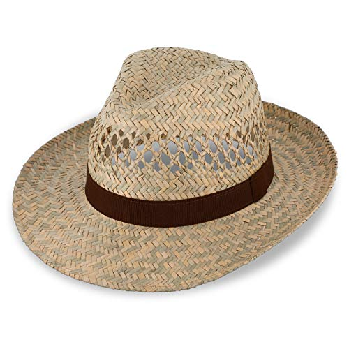 fiebig Strohhut Fedora mit braunem Ripsband | Sonnenhut für Herren & Damen aus 100% Stroh | Made in Italy | Sommerhut in vielen Größen | Farbe Natur (61-XL)