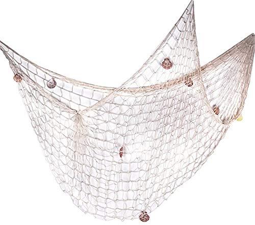 Milopon Fischernetz Deko Maritime Fischerei dekorative Netz mit Muscheln zum Aufhängen Deko Wandverzierung für Hausesdekoration Party (Weiß)