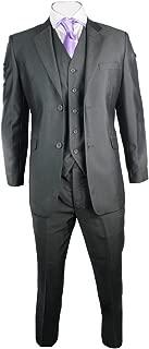 Cavani Mens Suit Silver Dark Grey Shiny 3 Piece Work Wedding Party Suit Short Long Regular