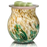 Glass Electric Incense Wax Warmer Burner Essential Oil Wax Melting Warmer for Fragrance Night Light Aroma Decorative Lamp for Gifts & Decor, Home, Office,Bedroom(Green