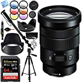 Sony E PZ 18-105mm f/4 G OSS Power Zoom Lens Bundle with Sandisk 64GB Memory Card, 72mm Filter Sets, Lens Hood and Accessories (5 Items)