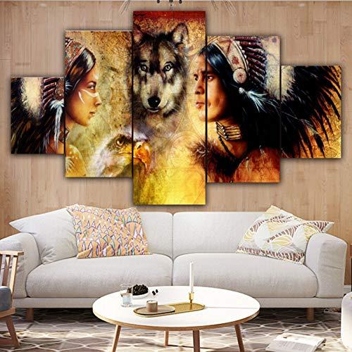 DFGGE Cuadro en Lienzo Moderno Pueblos indígenas, Águila y Lobo Impresiones sobre Lienzo Decoración de la Pared para Livingroom Sin Marco