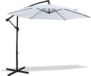 MaxxGarden - Parasoll (Ø 300 cm) med extra korsbas – höjdjusterbart parasoll balkong med UV-skydd – trafikljus för terrass...