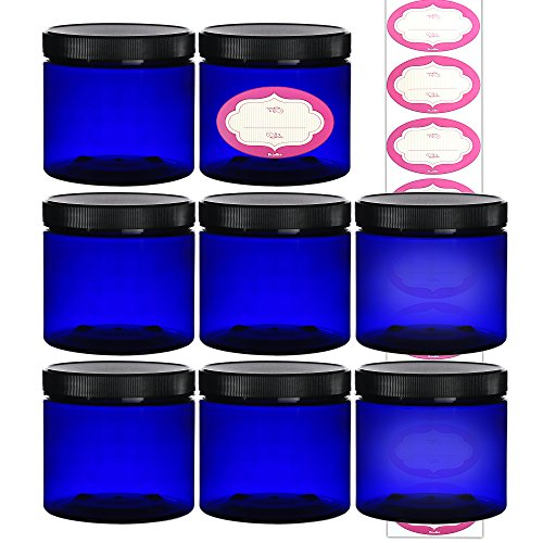 8-Pack - 16 Ounce Plastic Cobalt Blue Refillable Jars - Clear 8 Pack 16 Oz Round Cosmetic Containers - with Lids and Labels, For Beauty Products, Cream, Exfoliating Scrub, Face Masks and Lotion