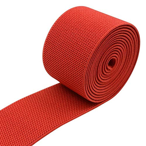 Gourd Colored Woven Elastic Band, 3-Yards (Red, 3-Inch)