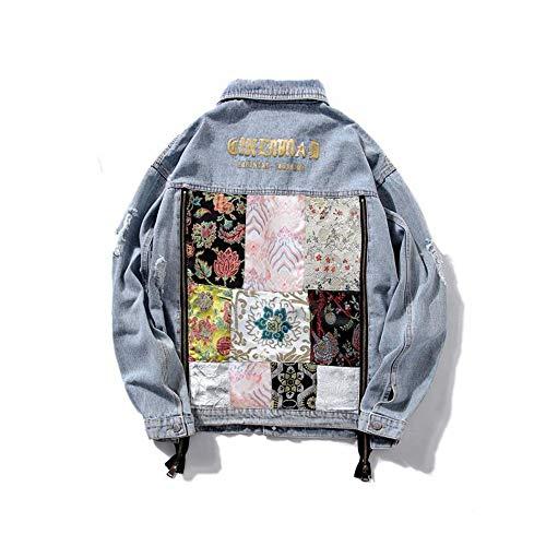 RLWQLFS Jeansjacke Vintage Frauen Denim Jacke Mode Stickerei Zip Lose Jean Mantel Weibliche Lässige Jaqueta Feminina Damen Retro Oberbekleidung Tops, l