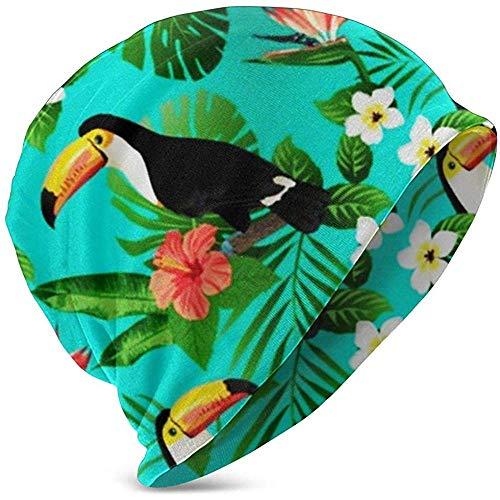 TABUE Petrol/Tropische vogels Tropische planten Hibiscus Paradijsvogel warme wintermuts gebreide mutsen doodshoofd muts muts voor jongens meisjes 's kinderen
