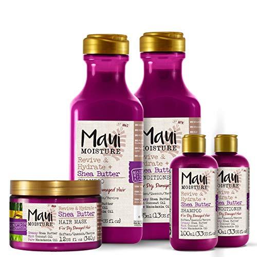 Maui Moisture Veganes Shampoo, Conditioner und Haarmaske Set, Sheabutter und Aloe Vera