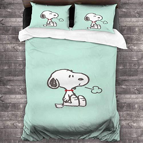 QWAS Snoopy – Ropa de cama suave y cómoda con impresión digital 3D para niños, dibujos animados, funda nórdica (V01,135 x 200 cm + 50 x 75 cm x 2)