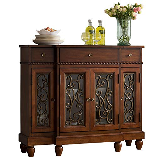 JOMSK Aparador Madera Buffet Gabinete de Almacenamiento de la Sala Aparador Mesa Decorativa contemporánea Aparador Buffet Credenza (Color : Coffee, Size : 107x33.5x94cm)