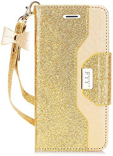FYY Für Samsung Galaxy S7 Hülle,Galaxy S7 Hülle, Handyhülle für Samsung Galaxy S7,[Premium PU Leder] Flip Wallet Tasche Hülle mit Standfunktion und innerer Spiegel für Samsung Galaxy S7-Bling Gold
