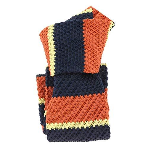 Clj Charles Le Jeune. Cravate tricot. Club charles, Microfibre. Orange, Club/rayé.