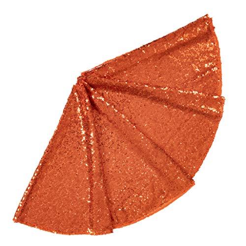 ShinyBeauty Sequin Tree Skirt Christmas 36Inch-Orange-Tree Skirt Dress for Christmas Decoration-0913E