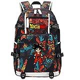 ZZGOO-LL Dragon Ball Super Son Goku/Vegeta IV/Torankusu Mochila con para Mujer, Mochila de Viaje Suave, Mochila para Escuela, Notebook, Mochilas para niñas con USB-B