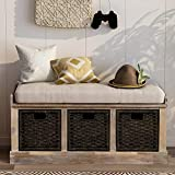 Entryway Storage Bench Rustic Storage Bench with 3 Removable Basket, Shoe Bench Storage Bench with Removable Cushion for Living Room, Entryway, Hallway (White)