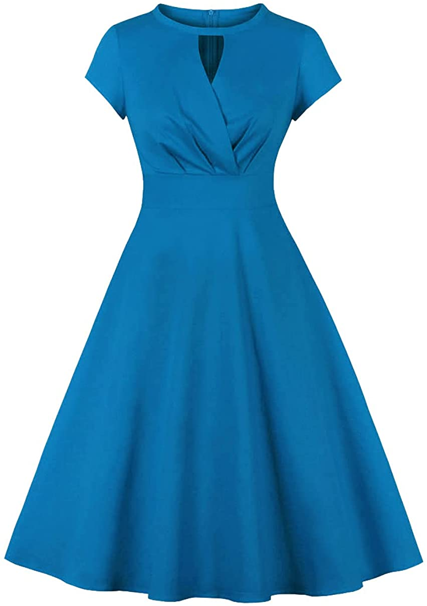 Wellwits Women's Cap Sleeves Keyhole Faux Wrap Vintage Dress