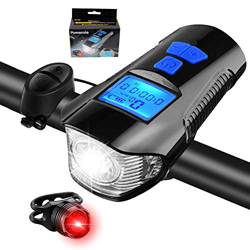 Kit de luces delanteras y traseras de bicicleta, con odómetro y bocina, velocímetro multifunción súper brillante e impermeable de carga USB, adecuado para todas las carreteras y montañas
