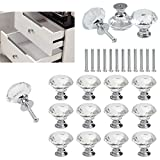 FOCCTS Pomos de Cristal Tiradores de Cristal 12 Piezas 30mm Aleación de Aluminio Diamante Pomos para Alacena Baño Cocina...