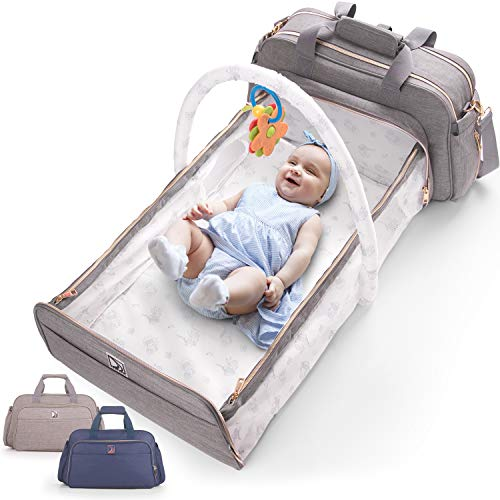 4-in-1 Convertible Baby Diaper Bag - Get Organized with Multi-Purpose Travel Baby Bag - Includes...