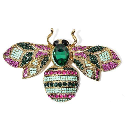 U/N Broches de Abeja Grandes de Diamantes de imitación Disponibles para Mujeres Insecto Colorido Pin de Broche Grande Joyería Vintage Buen Regalo-1