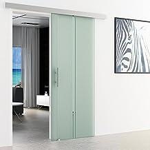 Schuifdeur van glas - verticaal gestreept   afmetingen: 1025 x 2050 mm   aluminium standaard geleiderail   stanggreep, all...