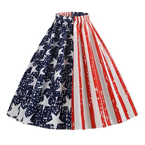 Amosfun Falda Midi con Bandera Americana hasta La Rodilla Vestido de Cintura Alta Vestido de Fiesta para Disfraz del Da de La Independencia (Talla M)
