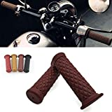 "5. Motorcycle Retro Comfortable Hand Handlebar 7/8"" 22mm 1""24mm Non Slip Rubber Handle Grips For Kawasaki Honda Yamaha"