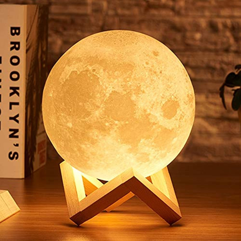 3D Print Moon Light 2 Farbe Led Nachtlichter Home Weihnachtsdekoration 15 Cm