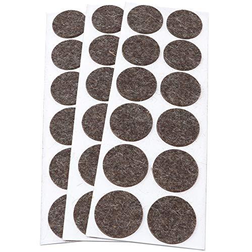 Adsamm® | 36 x wollen viltdoppen | Ø 34 mm | bruin | rond | 3 mm dikke zelfklevende meubelglijders van echt wolvilt