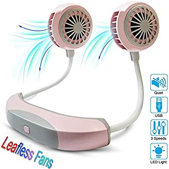 Snsyiy Mini Portable Neck Fan with USB Rechargeable LED Light