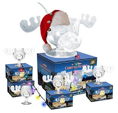 Cultica Griswold Family Elchglas Megaset aus echtem Glas 4 Moose Mugs + Bowlenschale + Bowlen Löffel Warner Brothers Lizenzware Schöne Bescherung