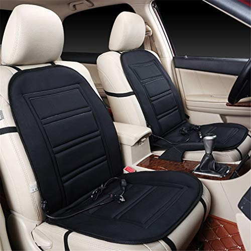 Road&Cool Sitzheizungen Heizauflagen Sitzbezügesets Thermostat Auto Heizkissen Winter Vorne Einzelsitz Doppelkissen Schwarz (97 * 48 cm)