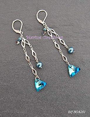 Boucles d'oreilles cristal Swarovski bleu et nacre vert iridescent, boucles oreilles mariage, soirée, idée cadeau, crochets dormeuses acier inoxydable