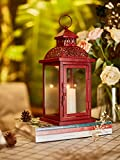 Ninganju 13 Inches Tall Rustic Decorative Candle Lantern Metal Antique Outdoor Decorative Hanging Lanterns Great for Wedding, Patio Parties, Indoor/Outdoor Decorative(Vintage Red)